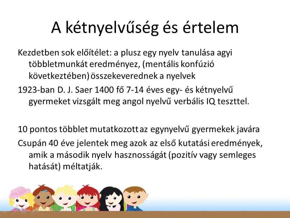 A kétnyelvűség és értelem Kezdetben sok előítélet: a plusz egy nyelv tanulása agyi többletmunkát eredményez, (mentális konfúzió következtében) összekeverednek a nyelvek 1923-ban D.