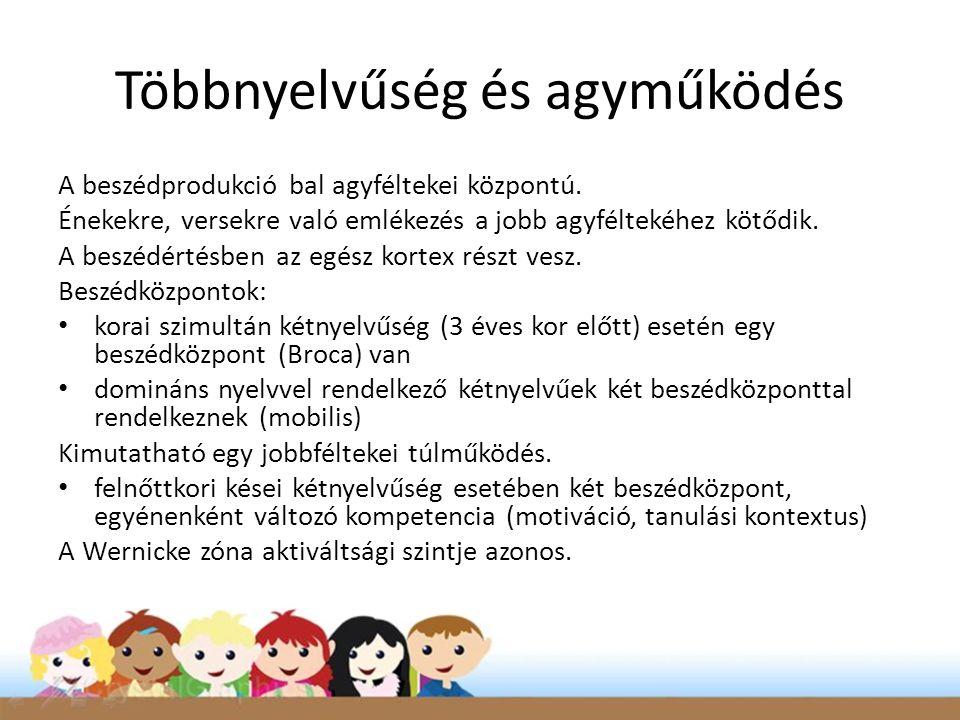 Többnyelvűség és agyműködés A beszédprodukció bal agyféltekei központú.