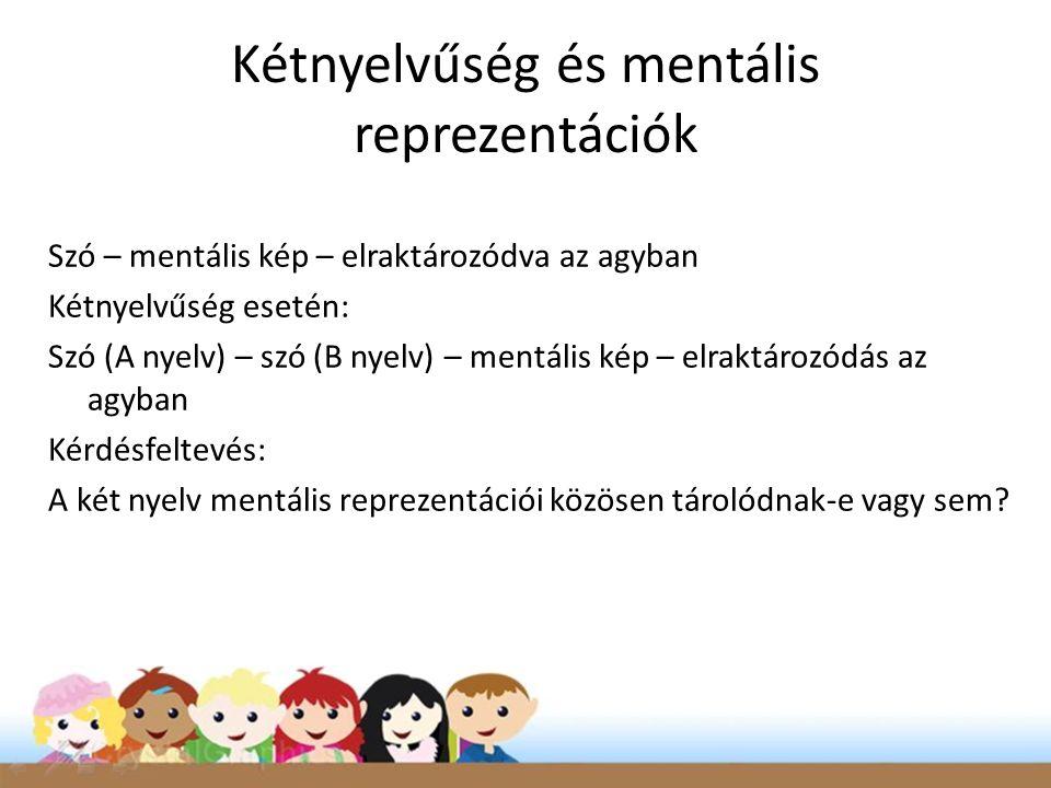 Kétnyelvűség és mentális reprezentációk Szó – mentális kép – elraktározódva az agyban Kétnyelvűség esetén: Szó (A nyelv) – szó (B nyelv) – mentális kép – elraktározódás az agyban Kérdésfeltevés: A két nyelv mentális reprezentációi közösen tárolódnak-e vagy sem?
