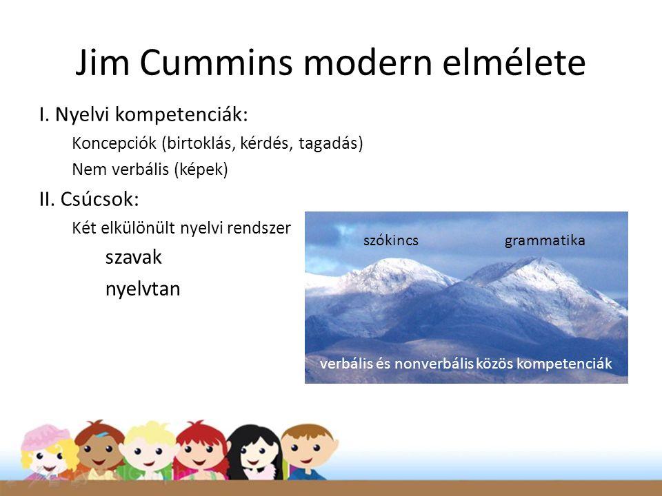Jim Cummins modern elmélete I. Nyelvi kompetenciák: Koncepciók (birtoklás, kérdés, tagadás) Nem verbális (képek) II. Csúcsok: Két elkülönült nyelvi re