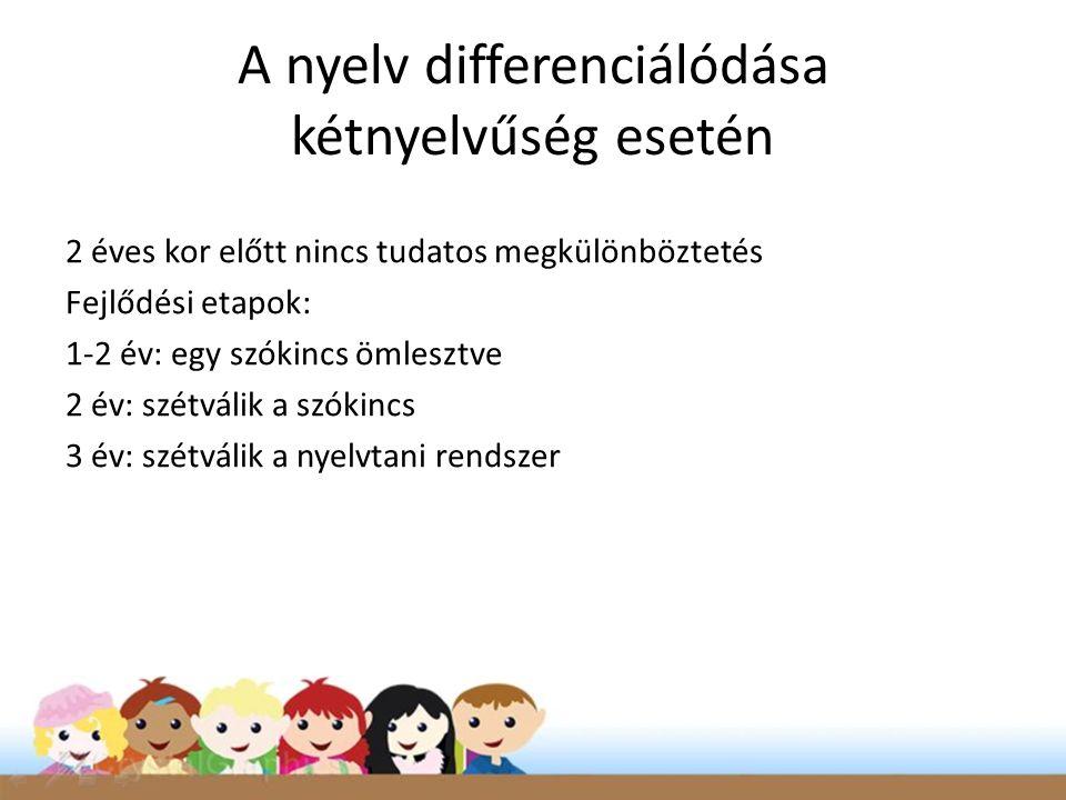 A nyelv differenciálódása kétnyelvűség esetén 2 éves kor előtt nincs tudatos megkülönböztetés Fejlődési etapok: 1-2 év: egy szókincs ömlesztve 2 év: szétválik a szókincs 3 év: szétválik a nyelvtani rendszer