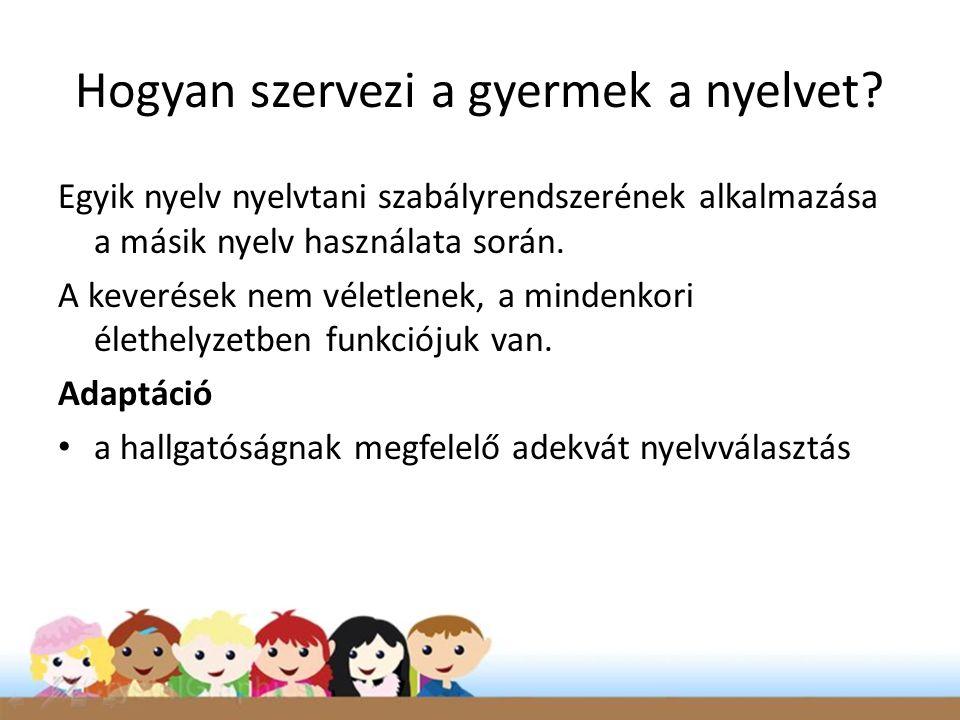 Hogyan szervezi a gyermek a nyelvet? Egyik nyelv nyelvtani szabályrendszerének alkalmazása a másik nyelv használata során. A keverések nem véletlenek,