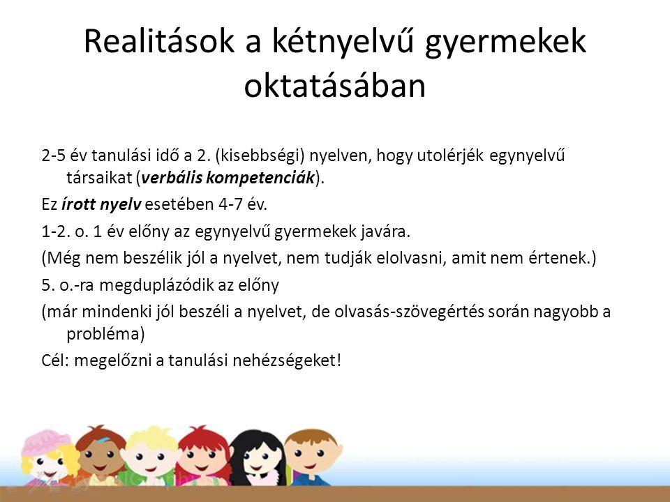 Realitások a kétnyelvű gyermekek oktatásában 2-5 év tanulási idő a 2. (kisebbségi) nyelven, hogy utolérjék egynyelvű társaikat (verbális kompetenciák)