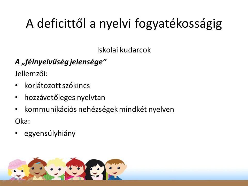"""A deficittől a nyelvi fogyatékosságig Iskolai kudarcok A """"félnyelvűség jelensége Jellemzői: • korlátozott szókincs • hozzávetőleges nyelvtan • kommunikációs nehézségek mindkét nyelven Oka: • egyensúlyhiány"""