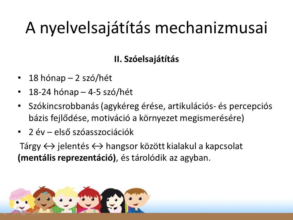 A nyelvelsajátítás mechanizmusai II. Szóelsajátítás • 18 hónap – 2 szó/hét • 18-24 hónap – 4-5 szó/hét • Szókincsrobbanás (agykéreg érése, artikuláció