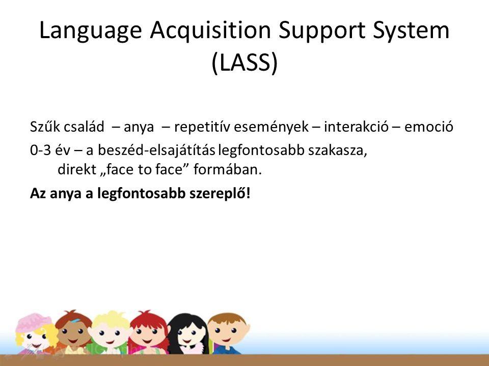 """Language Acquisition Support System (LASS) Szűk család – anya – repetitív események – interakció – emoció 0-3 év – a beszéd-elsajátítás legfontosabb szakasza, direkt """"face to face formában."""