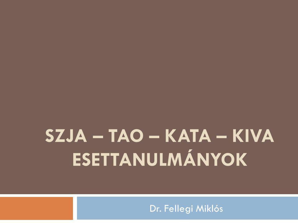 SZJA – TAO – KATA – KIVA ESETTANULMÁNYOK Dr. Fellegi Miklós