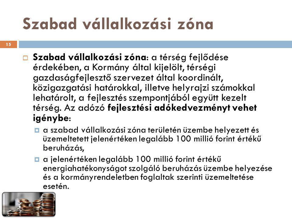 Szabad vállalkozási zóna  Szabad vállalkozási zóna: a térség fejlődése érdekében, a Kormány által kijelölt, térségi gazdaságfejlesztő szervezet által