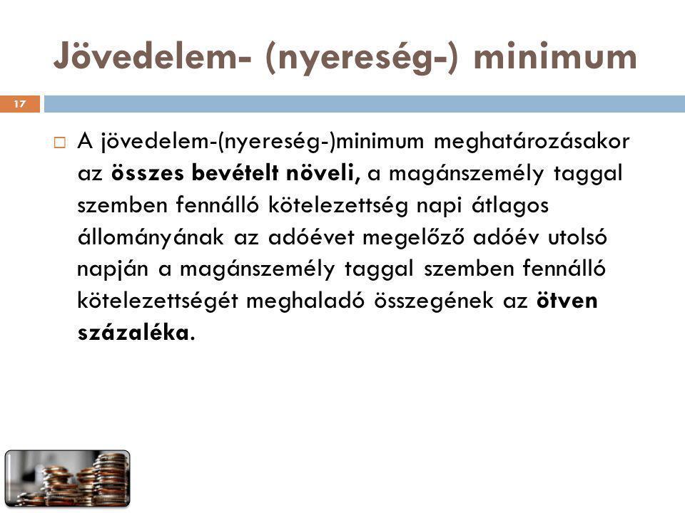 Jövedelem- (nyereség-) minimum  A jövedelem-(nyereség-)minimum meghatározásakor az összes bevételt növeli, a magánszemély taggal szemben fennálló köt