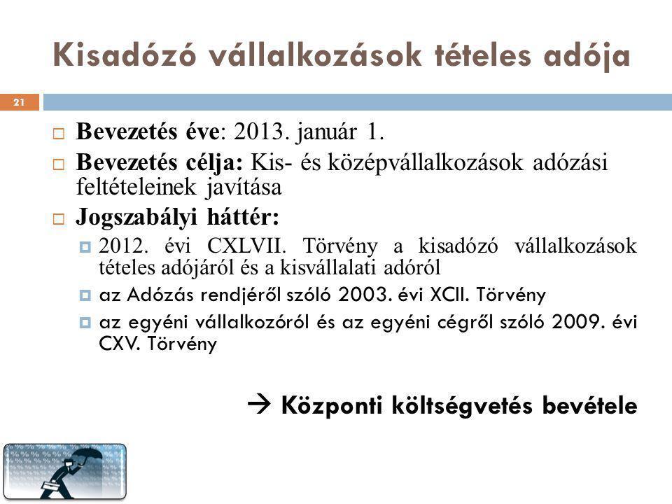 Kisadózó vállalkozások tételes adója  Bevezetés éve: 2013. január 1.  Bevezetés célja: Kis- és középvállalkozások adózási feltételeinek javítása  J