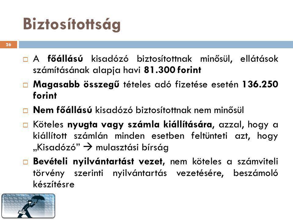 Biztosítottság  A főállású kisadózó biztosítottnak minősül, ellátások számításának alapja havi 81.300 forint  Magasabb összegű tételes adó fizetése
