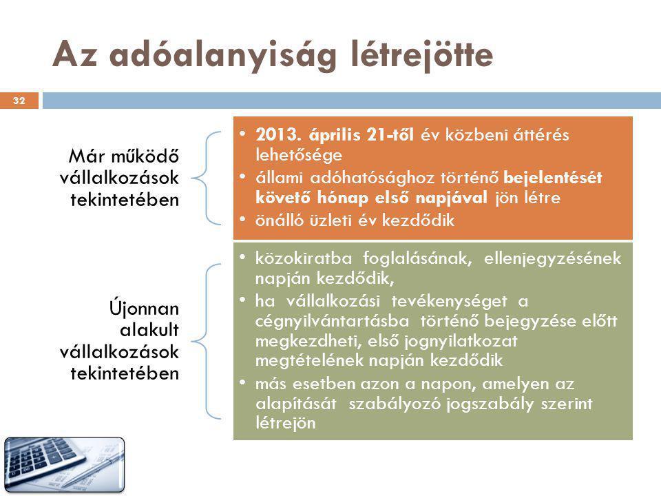 Az adóalanyiság létrejötte 32 Már működő vállalkozások tekintetében •2013. április 21-től év közbeni áttérés lehetősége •állami adóhatósághoz történő