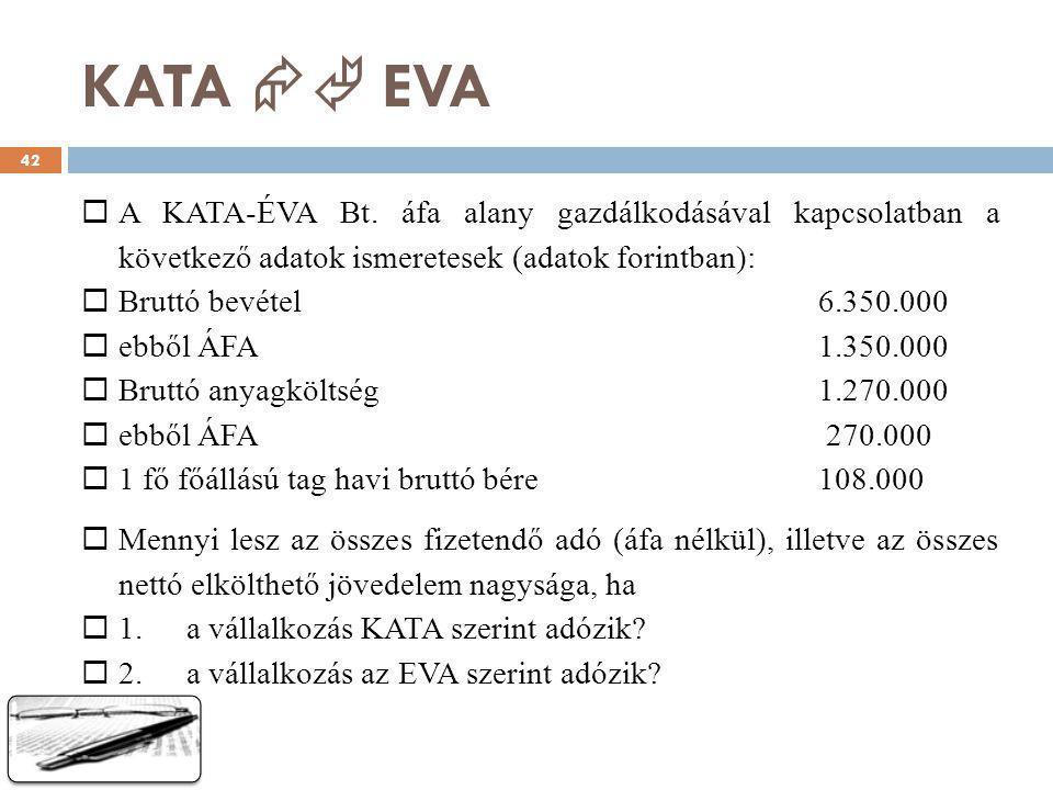 KATA  EVA  A KATA-ÉVA Bt. áfa alany gazdálkodásával kapcsolatban a következő adatok ismeretesek (adatok forintban):  Bruttó bevétel6.350.000  ebb