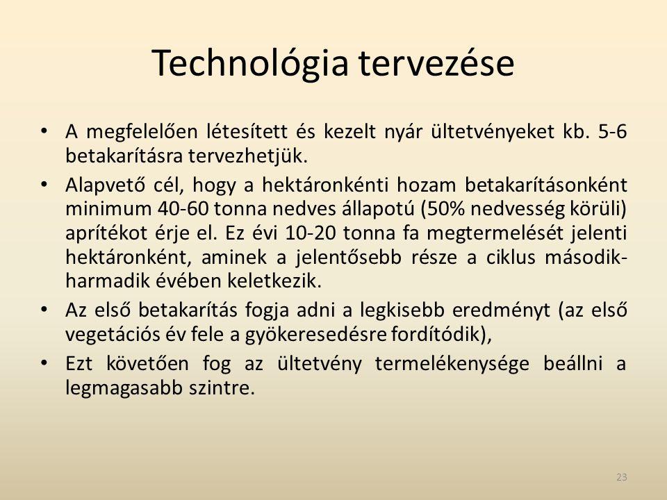 Technológia tervezése • A megfelelően létesített és kezelt nyár ültetvényeket kb. 5-6 betakarításra tervezhetjük. • Alapvető cél, hogy a hektáronkénti