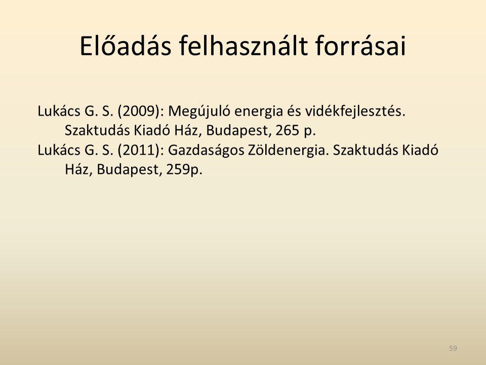 Előadás felhasznált forrásai Lukács G. S. (2009): Megújuló energia és vidékfejlesztés. Szaktudás Kiadó Ház, Budapest, 265 p. Lukács G. S. (2011): Gazd