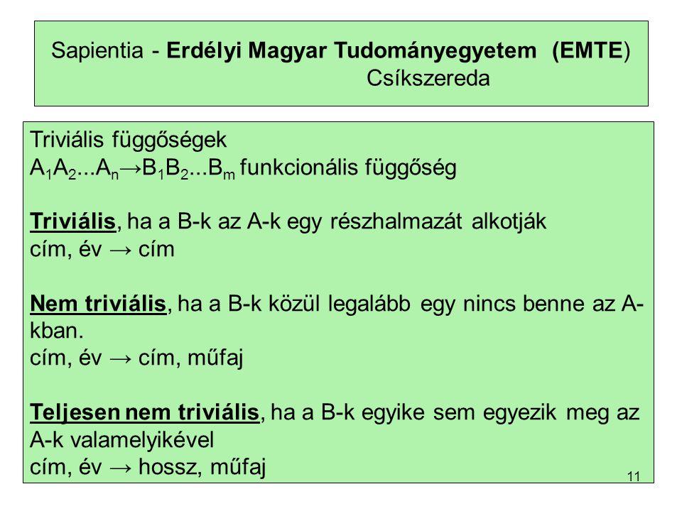 Sapientia - Erdélyi Magyar Tudományegyetem (EMTE) Csíkszereda Triviális függőségek A 1 A 2...A n →B 1 B 2...B m funkcionális függőség Triviális, ha a B-k az A-k egy részhalmazát alkotják cím, év → cím Nem triviális, ha a B-k közül legalább egy nincs benne az A- kban.