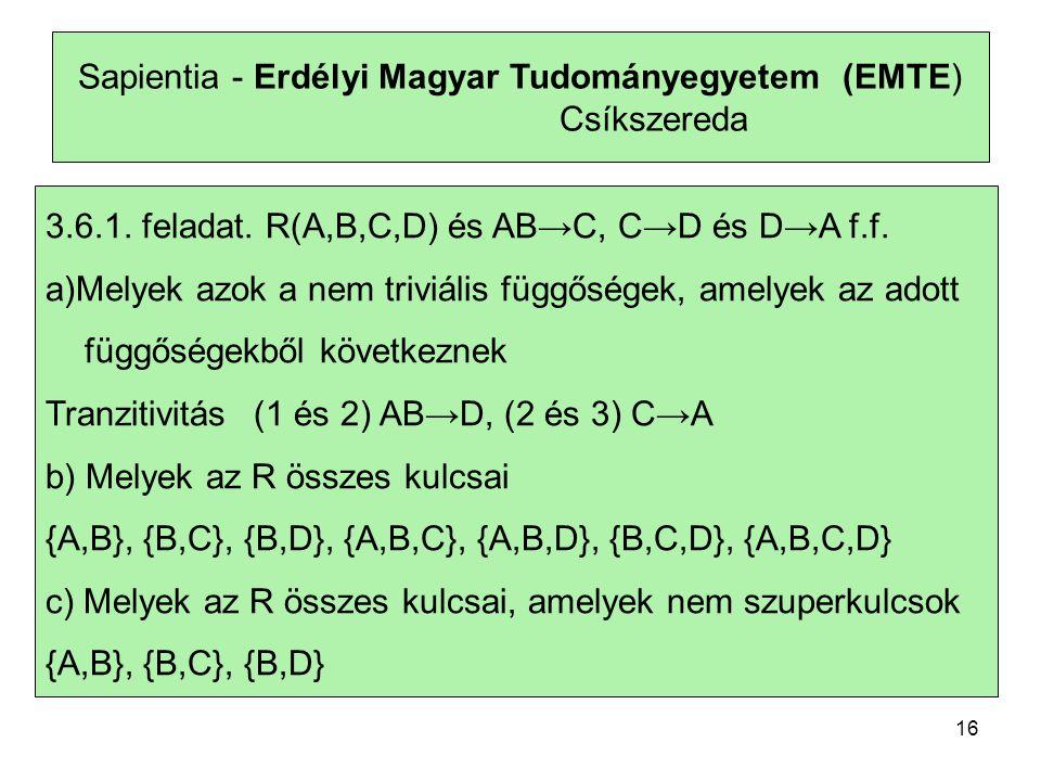 Sapientia - Erdélyi Magyar Tudományegyetem (EMTE) Csíkszereda 3.6.1.