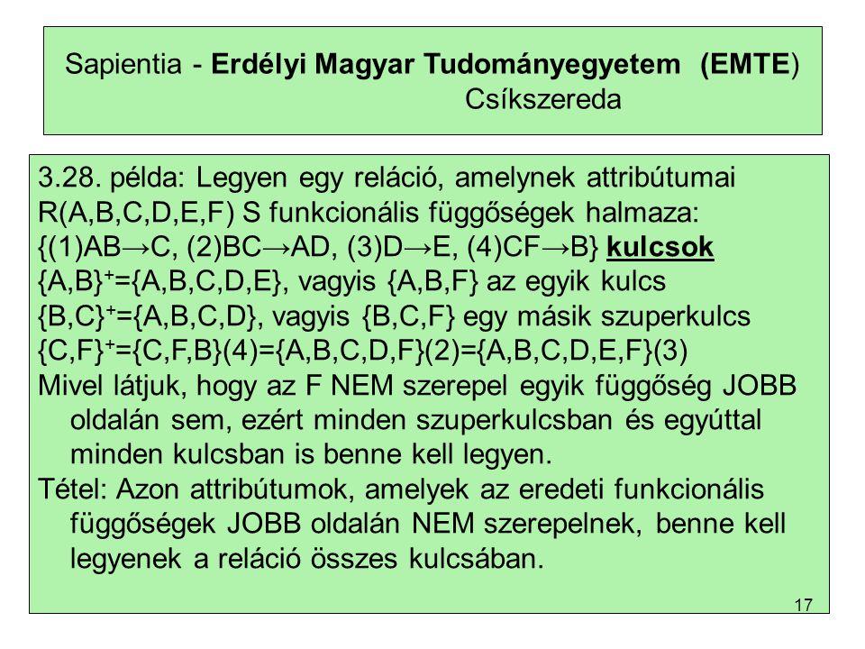 Sapientia - Erdélyi Magyar Tudományegyetem (EMTE) Csíkszereda 3.28.
