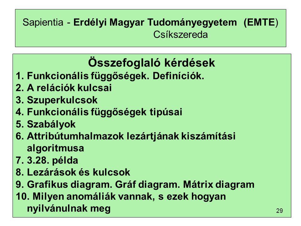 Sapientia - Erdélyi Magyar Tudományegyetem (EMTE) Csíkszereda Összefoglaló kérdések 1.Funkcionális függőségek.