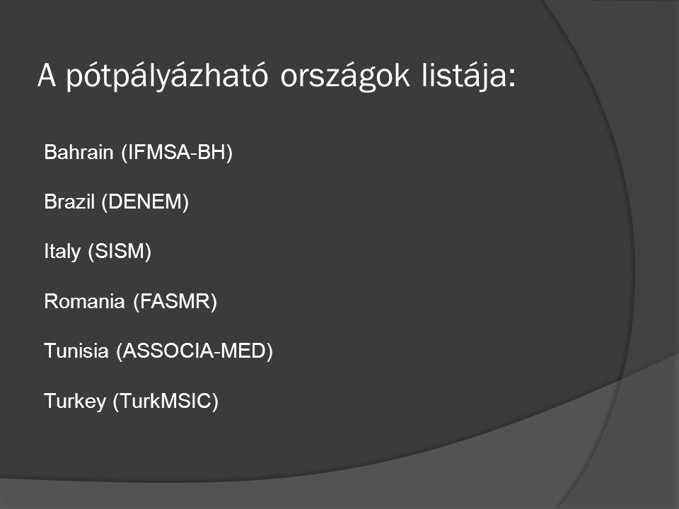 A pótpályázható országok listája: Bahrain (IFMSA-BH) Brazil (DENEM) Italy (SISM) Romania (FASMR) Tunisia (ASSOCIA-MED) Turkey (TurkMSIC)