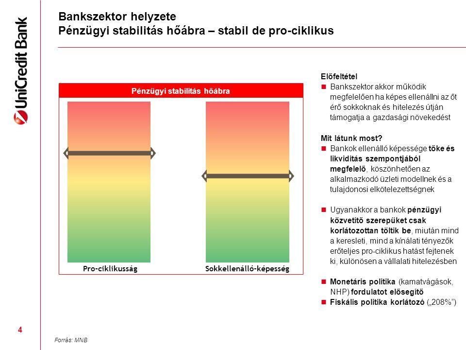Bankszektor helyzete Pénzügyi stabilitás hőábra – stabil de pro-ciklikus Előfeltétel  Bankszektor akkor működik megfelelően ha képes ellenállni az őt