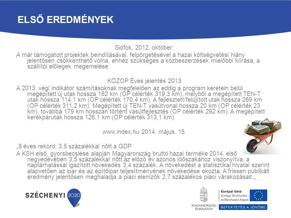 ELSŐ EREDMÉNYEK Siófok, 2012. október: A már támogatott projektek beindításával, felpörgetésével a hazai költségvetési hiány jelentősen csökkenthető v