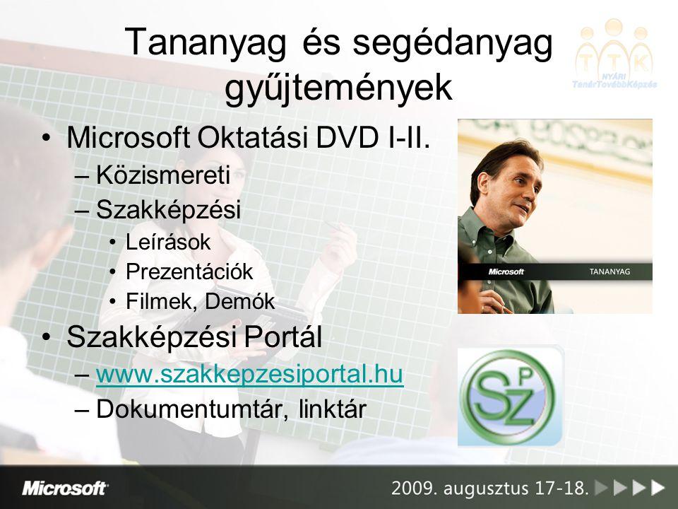 Tananyag és segédanyag gyűjtemények •Microsoft Oktatási DVD I-II. –Közismereti –Szakképzési •Leírások •Prezentációk •Filmek, Demók •Szakképzési Portál