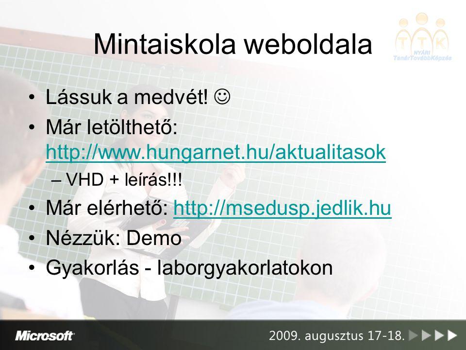 Mintaiskola weboldala •Lássuk a medvét!  •Már letölthető: http://www.hungarnet.hu/aktualitasok http://www.hungarnet.hu/aktualitasok –VHD + leírás!!!