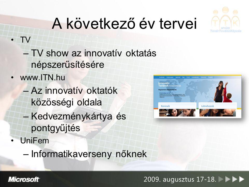 A következő év tervei •TV –TV show az innovatív oktatás népszerűsítésére •www.ITN.hu –Az innovatív oktatók közösségi oldala –Kedvezménykártya és pontg