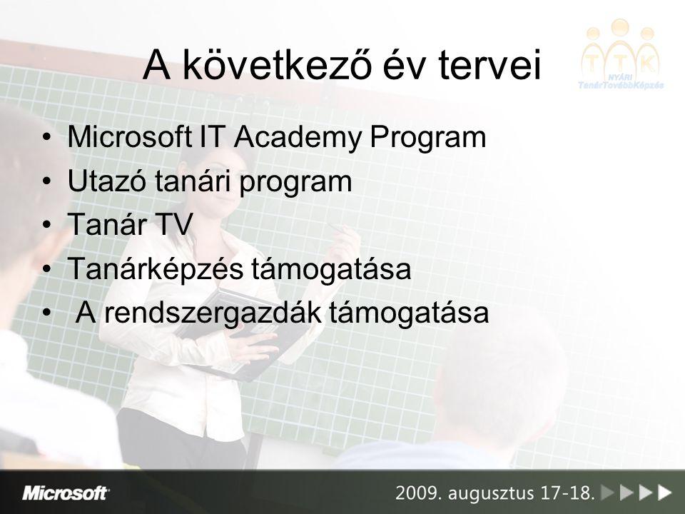 A következő év tervei •Microsoft IT Academy Program •Utazó tanári program •Tanár TV •Tanárképzés támogatása • A rendszergazdák támogatása