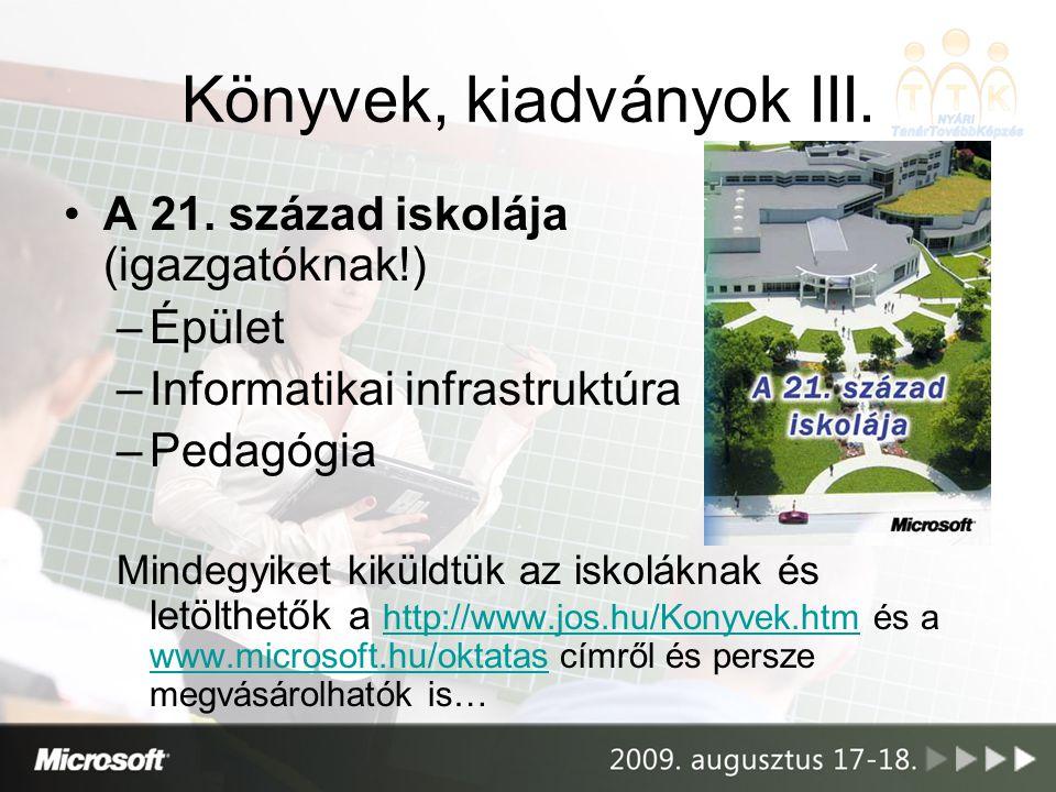Könyvek, kiadványok III. •A 21. század iskolája (igazgatóknak!) –Épület –Informatikai infrastruktúra –Pedagógia Mindegyiket kiküldtük az iskoláknak és