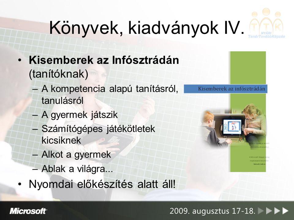 Könyvek, kiadványok IV. •Kisemberek az Infósztrádán (tanítóknak) –A kompetencia alapú tanításról, tanulásról –A gyermek játszik –Számítógépes játékötl