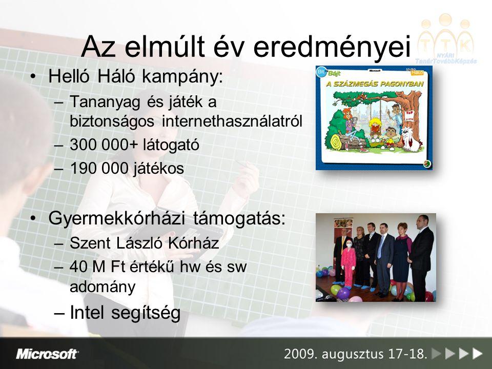A következő év tervei •Innovatív Tanárok Fóruma –2 napos munkakonferencia a jó példák megosztására –A 100 leginnovatívabb tanárnak –A legjobbak képviselik Magyarországot az európai ITF-en (2010; Berlin)