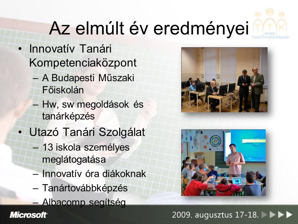 •Innovatív Tanári Kompetenciaközpont –A Budapesti Műszaki Főiskolán –Hw, sw megoldások és tanárképzés •Utazó Tanári Szolgálat –13 iskola személyes meg