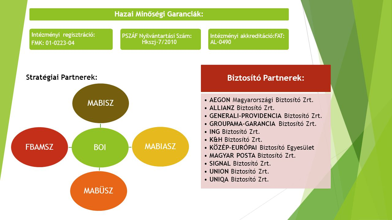 Stratégiai Partnerek: Hazai Minőségi Garanciák: Intézményi regisztráció: FMK: 01-0223-04 PSZÁF Nyilvántartási Szám: Hkszj-7/2010 Intézményi akkreditác