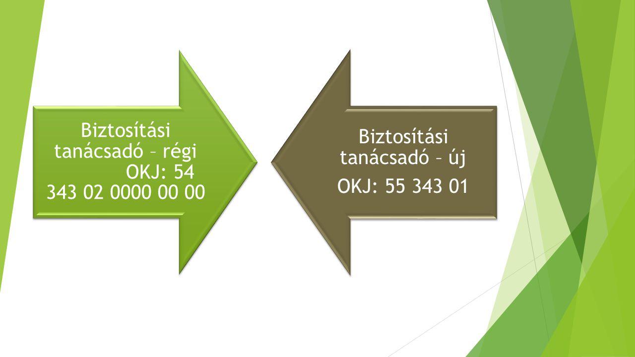 Biztosítási tanácsadó – régi OKJ: 54 343 02 0000 00 00 Biztosítási tanácsadó – új OKJ: 55 343 01