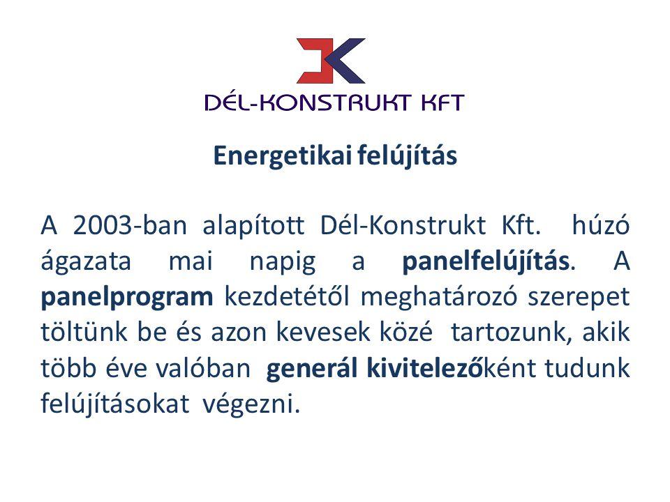A 2003-ban alapított Dél-Konstrukt Kft. húzó ágazata mai napig a panelfelújítás. A panelprogram kezdetétől meghatározó szerepet töltünk be és azon kev