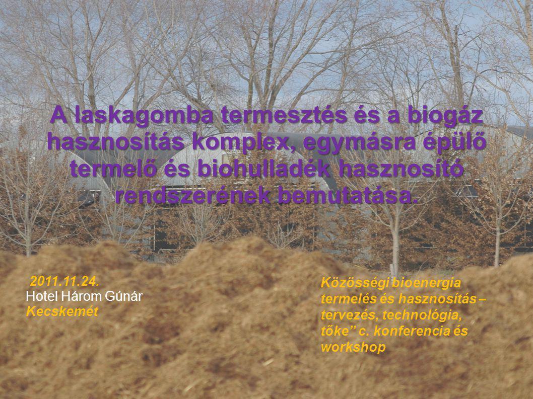 A laskagomba termesztés és a biogáz hasznosítás komplex, egymásra épülő termelő és biohulladék hasznosító rendszerének bemutatása. Közösségi bioenergi