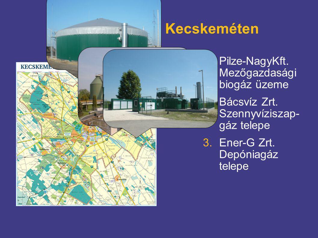 Biogáz üzemek Kecskeméten 1.Pilze-NagyKft. Mezőgazdasági biogáz üzeme 2.Bácsvíz Zrt. Szennyvíziszap- gáz telepe 3.Ener-G Zrt. Depóniagáz telepe