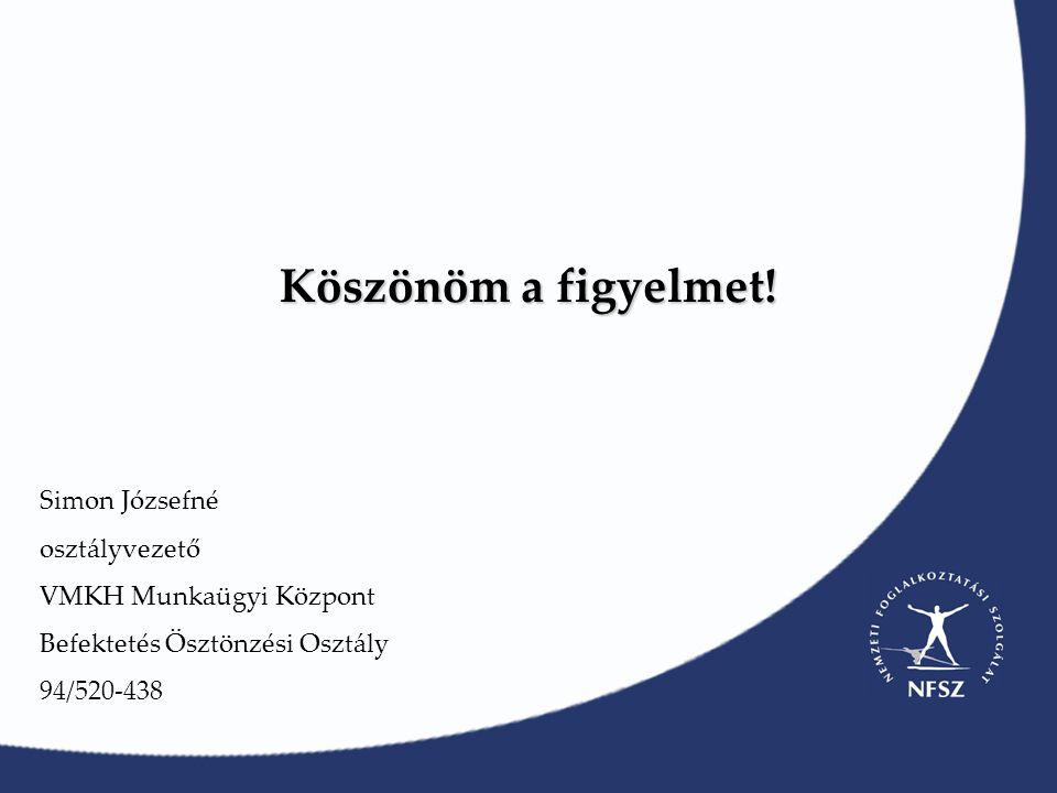 Köszönöm a figyelmet! Simon Józsefné osztályvezető VMKH Munkaügyi Központ Befektetés Ösztönzési Osztály 94/520-438