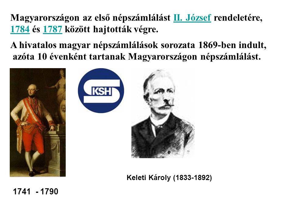 Magyarországon az első népszámlálást II. József rendeletére, 1784 és 1787 között hajtották végre.II. József 17841787 A hivatalos magyar népszámlálások