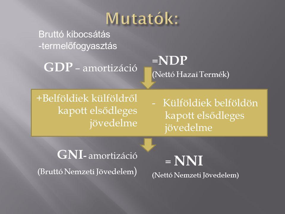 GDP – amortizáció +Belföldiek külföldről kapott elsődleges jövedelme GNI - amortizáció (Bruttó Nemzeti Jövedelem ) = NDP (Nettó Hazai Termék) - Külföldiek belföldön kapott elsődleges jövedelme = NNI (Nettó Nemzeti Jövedelem) Bruttó kibocsátás -termelőfogyasztás