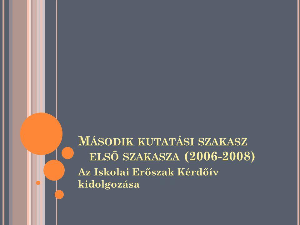 Az Iskolai Erőszak Kérdőív kidolgozása M ÁSODIK KUTATÁSI SZAKASZ ELSŐ SZAKASZA (2006-2008)