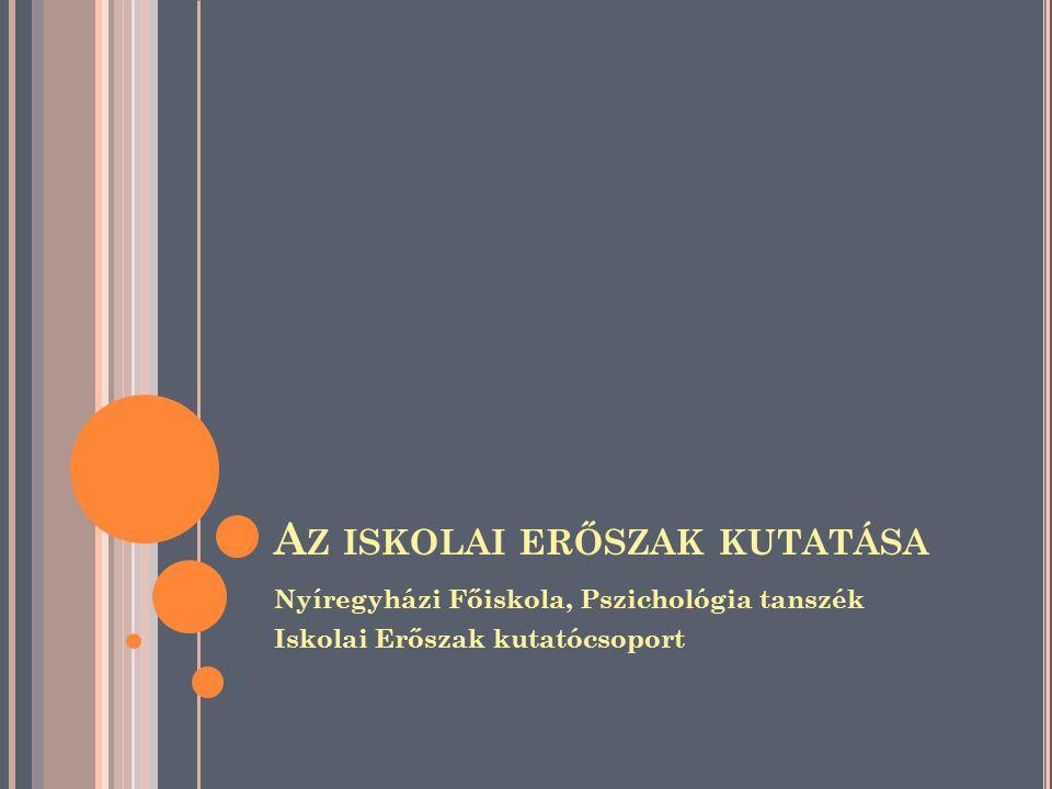 A Z ISKOLAI ERŐSZAK KUTATÁSA Nyíregyházi Főiskola, Pszichológia tanszék Iskolai Erőszak kutatócsoport