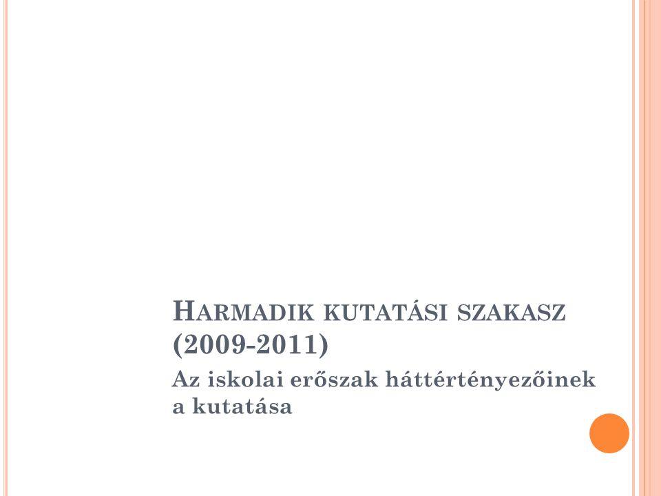 Az iskolai erőszak háttértényezőinek a kutatása H ARMADIK KUTATÁSI SZAKASZ (2009-2011)