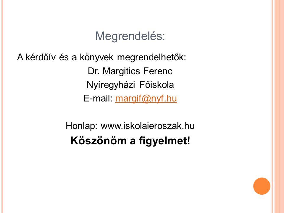 Megrendelés: A kérdőív és a könyvek megrendelhetők: Dr. Margitics Ferenc Nyíregyházi Főiskola E-mail: margif@nyf.humargif@nyf.hu Honlap: www.iskolaier