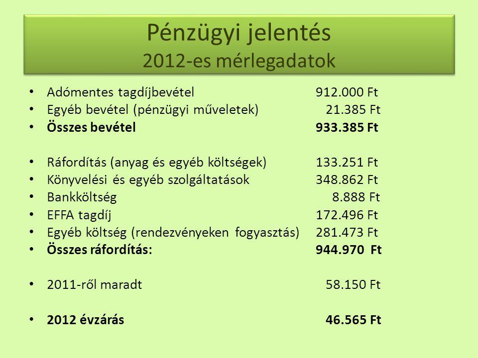Pénzügyi jelentés 2012-es mérlegadatok • Adómentes tagdíjbevétel 912.000 Ft • Egyéb bevétel (pénzügyi műveletek) 21.385 Ft • Összes bevétel 933.385 Ft • Ráfordítás (anyag és egyéb költségek) 133.251 Ft • Könyvelési és egyéb szolgáltatások 348.862 Ft • Bankköltség 8.888 Ft • EFFA tagdíj 172.496 Ft • Egyéb költség (rendezvényeken fogyasztás) 281.473 Ft • Összes ráfordítás: 944.970 Ft • 2011-ről maradt 58.150 Ft • 2012 évzárás 46.565 Ft