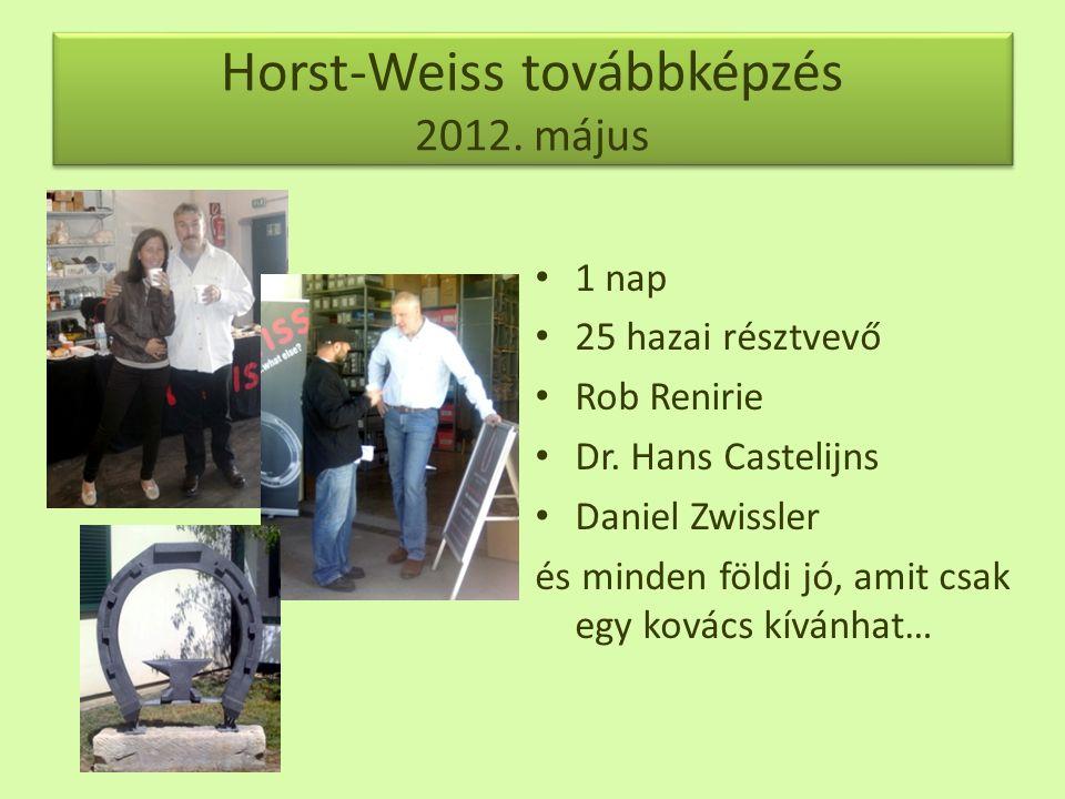 Horst-Weiss továbbképzés 2012.május • 1 nap • 25 hazai résztvevő • Rob Renirie • Dr.
