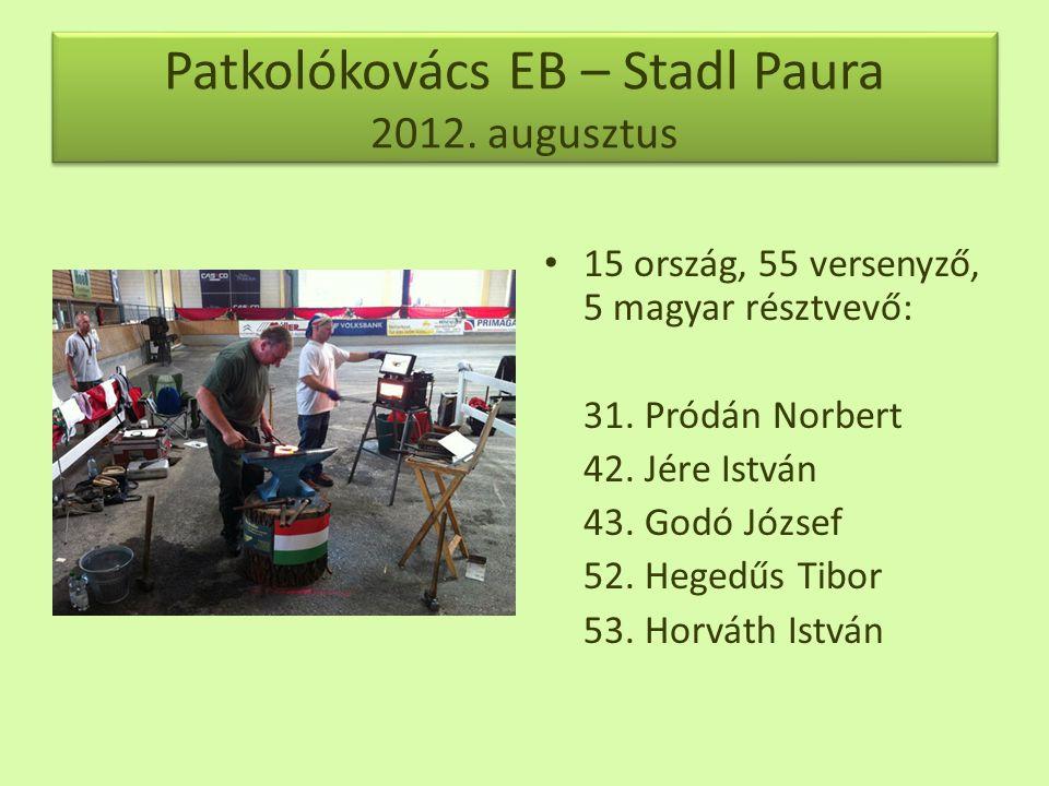 Patkolókovács EB – Stadl Paura 2012.augusztus • 15 ország, 55 versenyző, 5 magyar résztvevő: 31.