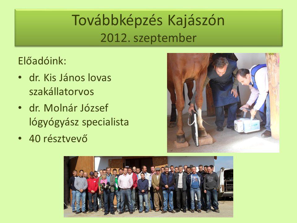 Továbbképzés Kajászón 2012.szeptember Előadóink: • dr.